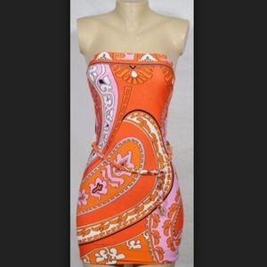 Beautiful Cache Orange & Pink Party Dress Small